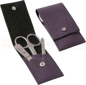 DOVO 3-Piece Manicure Set in Violet Cowhide Leather Case