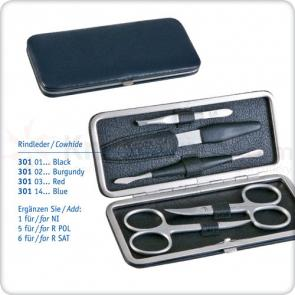 DOVO 5-Piece Manicure Set in Grey Leather Case with Petrol Application