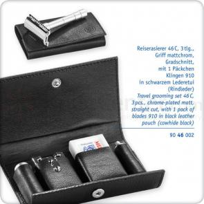 Merkur 46C Straight Cut Safety Razor Travel Grooming Set, Detachable Handle, Extra Pack of Blades