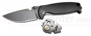 DPx Gear HEST/F 2.0 T3 Triple Black Special Edition Folder 3.25 inch Black Combo Blade, Titanium and G10 Handles