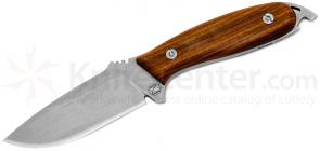 DPx Gear HEFT 4 Woodsman Fixed 4 inch Stonewashed Blade, Wood Handles, Leather Sheath