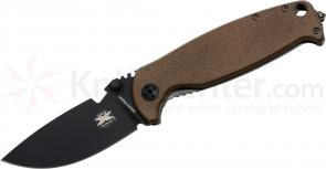 DPx Gear HEST 2.0 Limited Edition Folder 3.25 inch D2 Black Plain Blade, Titanium and Coyote Brown G10 Handles