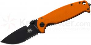 DPx Gear HEST 2.0 Exclusive Folder 3.25 inch D2 Black Combo Blade, Titanium and Orange G10 Handles w/ Signed Book