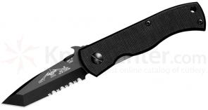 Emerson CQC7B Folding Knife 3.3 inch Black Combo Tanto Blade with Wave, G10 Handles