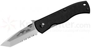 Emerson Mini CQC7 Folding Knife 2.9 inch Stonewash Combo Tanto Blade with Wave, G10 Handles