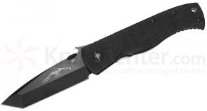 Emerson Super CQC7B Folding Knife 3.8 inch Black Plain Tanto Blade with Wave, G10 Handles