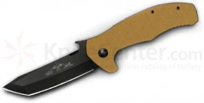 Emerson Roadhouse Folding Knife 3.8 inch Black Plain Tanto Blade, Desert Tan G10 Handles