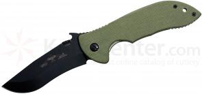 Emerson Prestige Model Commander Folding Knife 3.75 inch Black Plain Blade, Jungle Green G10 Handles