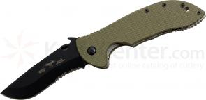 Emerson Prestige Model Commander Folding Knife 3.75 inch Black Combo Blade, Jungle Green G10 Handles