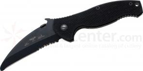 Emerson SARK Folding Rescue Knife 4.1 inch Black Combo Blunt Tip Blade, G10 Handles