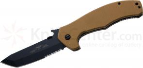 Emerson Super Roadhouse Folding 4.2 inch Black Tanto Combo Blade, Desert Tan G10 Handles