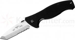 Emerson SOCFK-SFS Folding Knife 3.375 inch Stonewash Combo Tanto Blade with Wave, G10 Handles