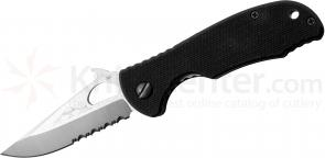 Emerson Traveler W Folding Knife 3 inch Stonewash Combo Blade with Wave, Black G10 Handles