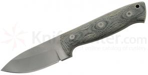 Entrek Badger Fixed 3.375 inch Bead Blast Blade, Black Canvas Micarta Handles