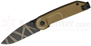 Extrema Ratio BF1 Desert Warfare Drop Point Folder 2.72 inch Plain N690 Blade, Tan Aluminum Handles