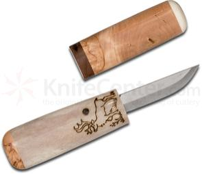 Kellam Knives Finnish Tasku Knife Fixed 2.25 inch Carbon Steel Blade, Reindeer Design, Antler Handle