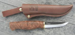 Kellam Knives Finnish Hawk Puukko 3 inch Blade, Stained Curly Birch Handle