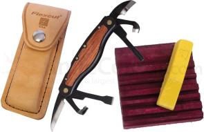 Flexcut Carvin' Jack Knife 6 Different Style Blades, Black Aluminum Handle w/ Wood Inlays, Leather Sheath