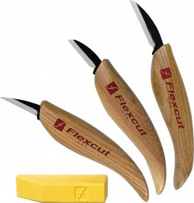 Flexcut 3-Knife Starter Set 3 Different Style Blades w/ Polishing Compound, Ash Wood Handles