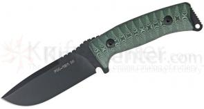 Fox Pro Hunter Fixed 4.3 inch Plain Blade, Green and Black Micarta Handles, Black Leather Sheath