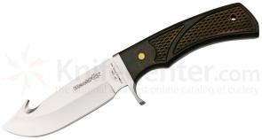 Fox Black Fox Hunting Knife Fixed 4 inch Plain Blade, Checkered Wood Handles, Leather Sheath