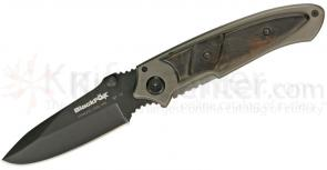 Fox Black Fox Framelock Folding 3-1/4 inch Plain Blade, Gray Aluminum Frame with Black Sandal Wood Onlay Scales