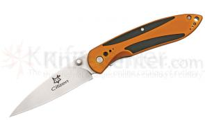 Fox Citizen Folding 3 inch Plain Blade, Orange Anodized Aluminum Handle with Black Rubber Inserts