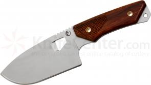 Fremont Knives Gentleman's Skinner Fixed 4.5 inch Plain Drop Point Blade, Rosewood Handles, Leather Sheath