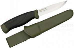 Morakniv Mora of Sweden Heavy Duty Military Green Companion 4.1 inch Carbon Steel Blade, Black Rubber Handle