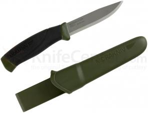 Morakniv Mora of Sweden Military Green Companion Knife 4.1 inch Carbon Steel Blade, Black Rubber Handle