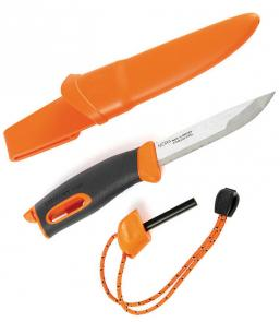 Morakniv Mora of Sweden/Light My Fire Orange FireKnife 3-5/8 inch Stainless Steel Blade, Orange Rubber Handle, Fire Starter