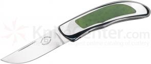 Gayle Bradley Custom Chili Pepper Interframe Folder 2.75 inch CTS-XHP Drop Point Blade, Stainless Steel Handles with Jade Inlays