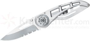 Gerber Ripstop II Folding Knife 3 inch Bead Blast Combo Blade, Stainless Steel Handle