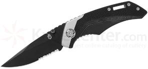 Gerber Contrast Folding Knife 3 inch Black Combo Blade, Black G10 and Stainless Steel Handles