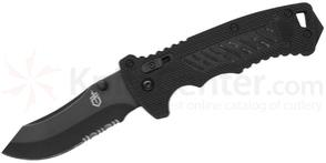 Gerber DMF Manual Folding Knife 3.5 inch Modified Clip Point Combo Blade, Black G10 Handles