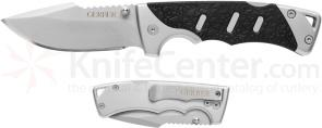 Gerber Metolius Clip Folding Knife 3 inch Plain Blade, Steel Handles with TacHide Inlay