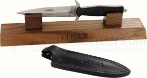 Gerber 30-000412 Mark I Limited Edition 5 inch S30V Double Edge Blade, G10 Handles, Walnut Wood Stand