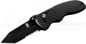 Gerber Fast Draw Tanto Assisted 3 inch Black Combo Blade, Zytel Handles