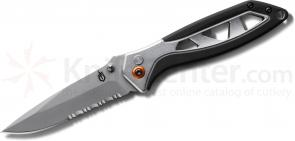 Gerber Outrigger XL Assisted Opening Folder 3.38 inch Satin Combo Blade, Aluminum Handles (30-000690_