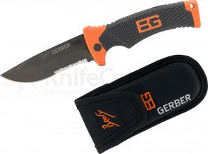 Gerber 31-000752 Bear Grylls Folding Sheath Knife 3.6 inch Combo Blade, Rubber Grip Handles