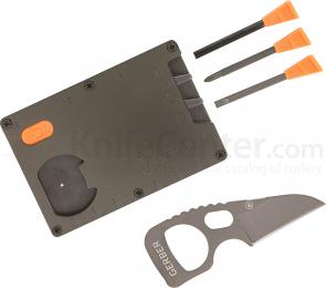 Gerber 31-001747 Bear Grylls Card Tool, 1.5 inch Fixed Wharncliffe Blade and Multi-Tool