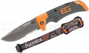 Gerber 31-002369 Bear Grylls Scout Folder and Hands-Free Torch LED Headlamp Combo