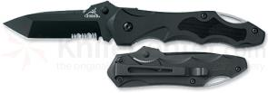 Gerber Kiowa 2.99 inch Black Tanto Style Combo Edge Folder Zytel Handle