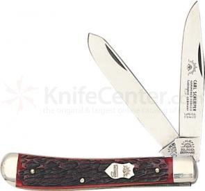 German Eye Trapper Pocket Knife, Stainless Steel Blades, Red Bone Handles
