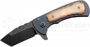 Anthony Griffin Custom Mini Monster Flipper 3.05 inch Acid Wash S35VN Tanto Blade, Titanium Handles with Superconductor Onlays
