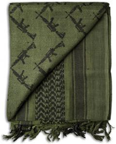Grindworx Shemagh, OD Green with Crossed Gun Pattern