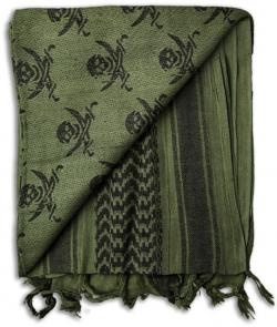 Grindworx Shemagh, OD Green with Pirate Skull Pattern
