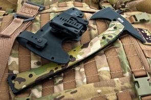 Hardcore Hardware Tactical Tomahawk 12.6 inch Overall, D2 Tool Steel, Multi Cam G10 Handle, Kydex Sheath