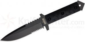 Hardcore Hardware Mid Field Knife 5.1 inch Black D2 Combo Blade, G10 Handle, Cordura MOLLE Sheath