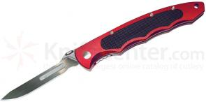 Havalon Piranta Torch Skinning Folding Knife 2-3/4 inch #60A Replaceable Blade, Brick Red Aluminum Handles
